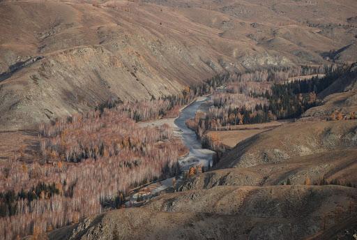 Xinjiang, Baihaba - Rivière Haba He, frontière naturelle avec la Pakistan