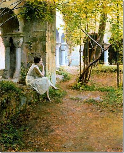 ramon casas i carbo_Julia en el claustro del Monasterio de Sant Benet