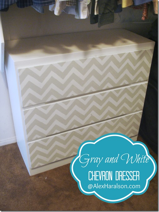 Gray and White Chevron Dresser Redo After2