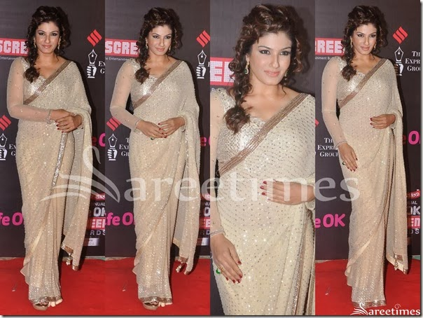 Raveena_Tandon_Cream_Embroidery_Saree