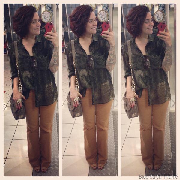 look com calça jeans flare marrom e camisa estampada camuflada (2)