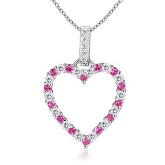 Round Pink Sapphire and Diamond Heart Pendant