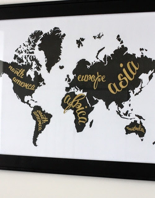 Gold and Black and White Map