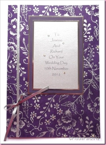 Purple Wedding Card using handmade papers