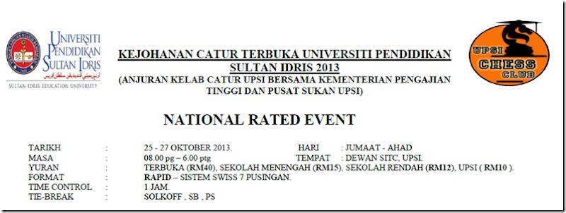 UPSI Open 2013 flyer, Tg Malim, Perak