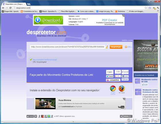 Desprotegendo links pelo Desprotetor.com