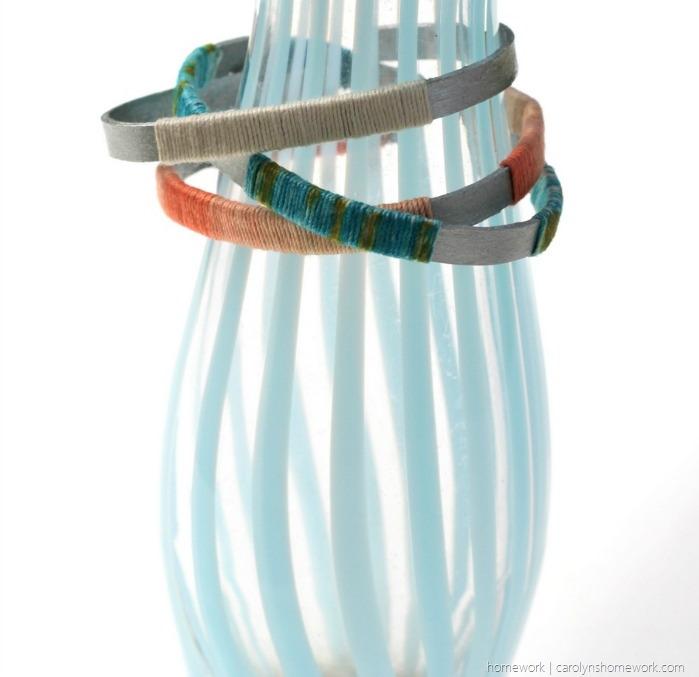 Craft Stick Twine Wrapped Bangle Bracelets via homework