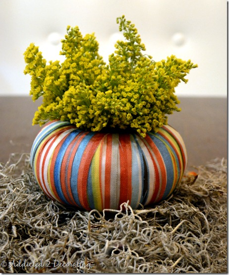 miniature pumpkin vase--mod podge fabric strips