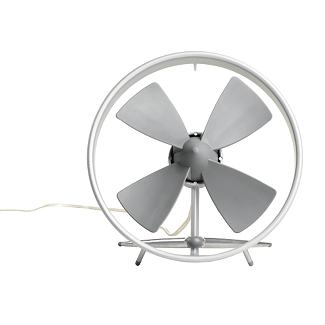 The blades on this fan are rubber, so you don't need to worry about the grill-less design.  It reminds me of a jet engine. (dwr.com)