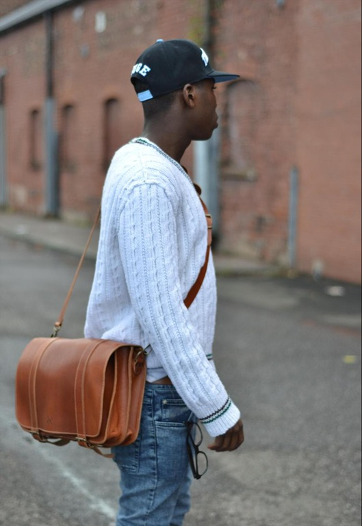 Leather Tan Satchel Messenger Bag, £115, Grafea