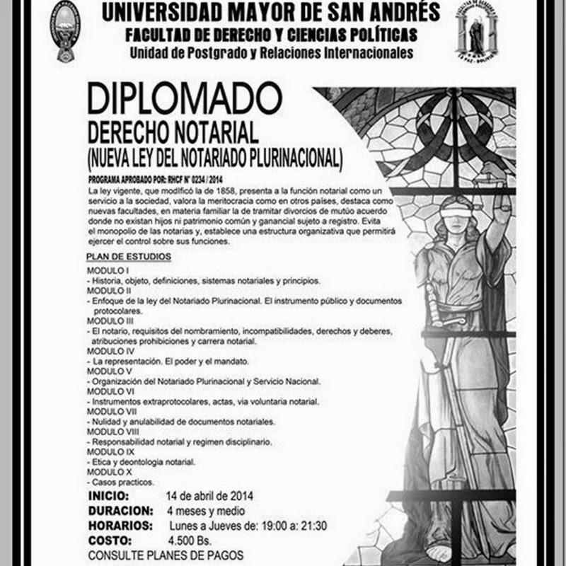 Diplomado en Derecho Notarial en la UMSA (2014)
