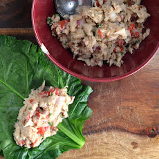 Mediterranean Tuna & White Bean Salad Collard Wraps