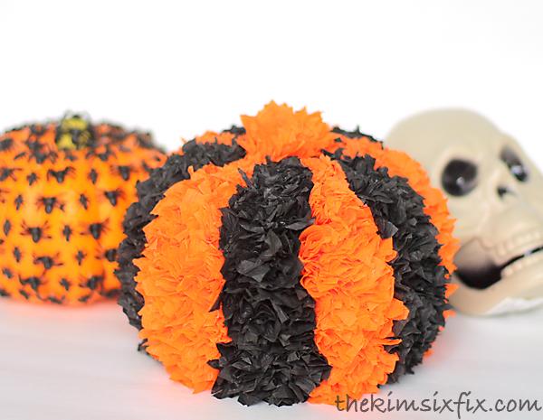 Crepe paper halloween pumpkin