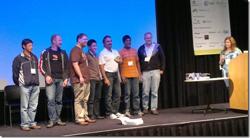 Team DisasterRadio winning the appMobi prize