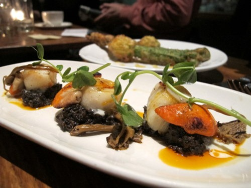 Grilled Scallops with Spicy Portobello Mushroom Duxelle, crème fraîche and Smoked Paprika oil
