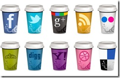 takeout coffe cup social icons