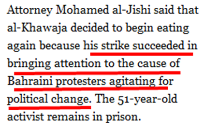 Bahraini Activist to End Hunger Strike   NYTimes.com