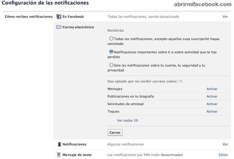 Configuración de las notificaciones 2