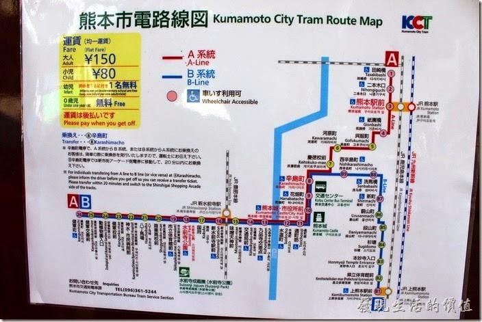 熊本的市內鐵軌電車有兩條路線,可以任意搭乘,乘坐方式跟台北公車差不多。