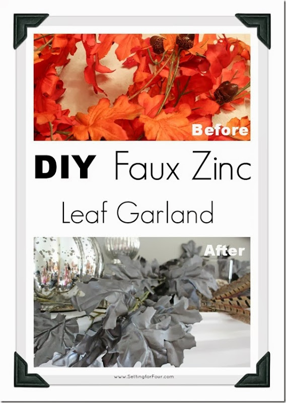 Before and After DIY Faux Zinc Leaf Garland from Setting for Four
