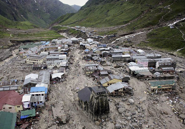 Aerial view of the Hindu holy town of Kedarnath after a flood, in the northern Indian state of Uttarakhand, on 18 June 2013. Photo: AP