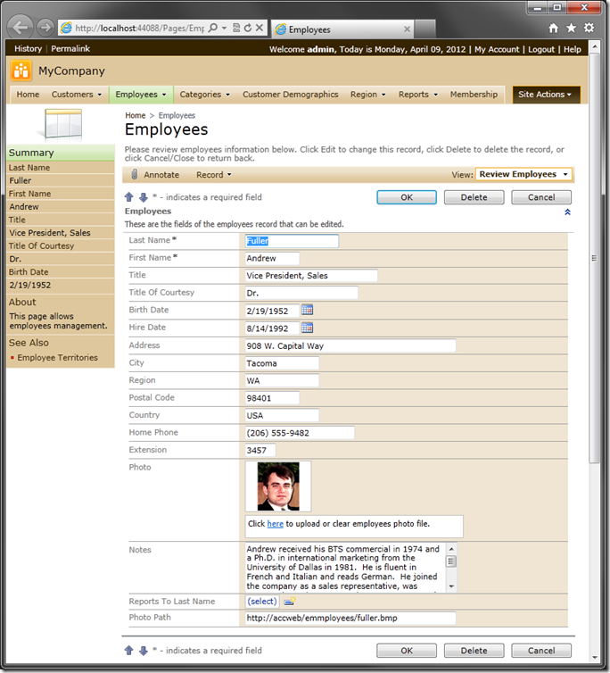 Employees category with Floating disabled in Code On Time web application