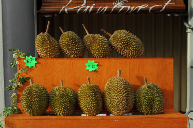 Durian Fruit Stall on the streets of Penang, Malaysia
