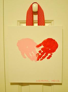 Valentines Day handprint heart canvas-3