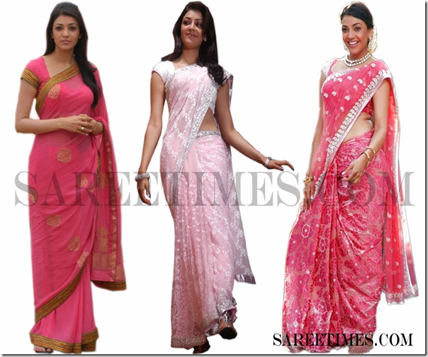 Kajol_Agrwal_Pink_Sarees