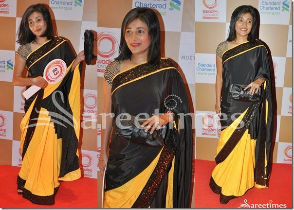 Yellow_Black_Half_and_Half_Saree