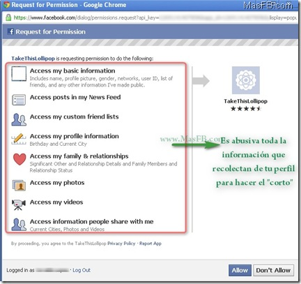 TakeThisLolipop.com en Facebook App