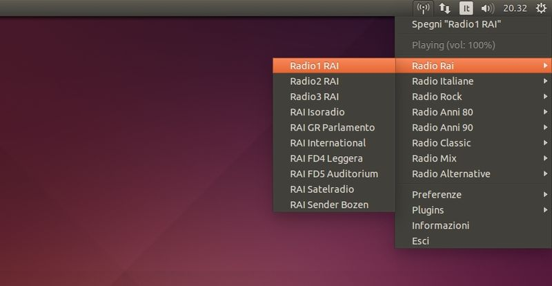 Radio Italiane in Radio Tray in Ubuntu Linux