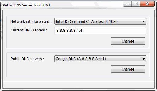 Pubic DNS Server Tool