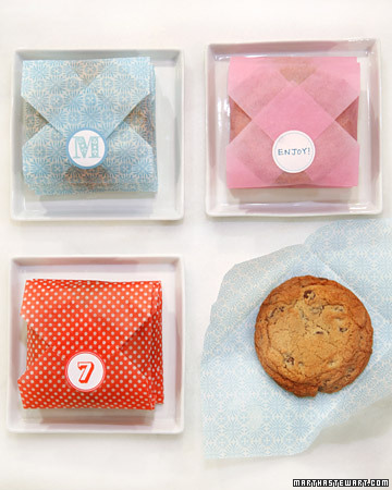 I love this idea of wrapping up cookies -- the stickers are such a beautiful touch as well. If you do not have stickers with a design on it, just simply buy blank stickers and write your own message on them.