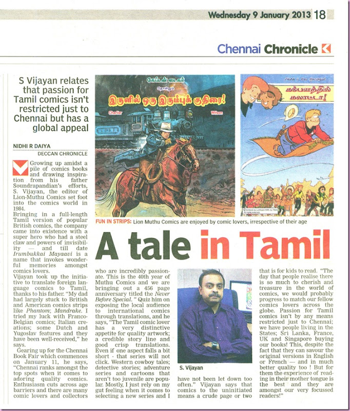 Deccan Chronicle Chennai Chronicle Dated 09012013 Page No18 Editor SV's Interview