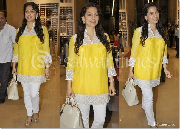Juhi_Chawla_Yellow_Short_Kurta