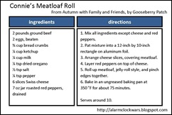 Meatloaf roll recipe card