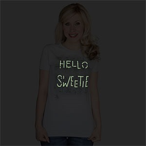 Hello Sweetie Glow in the Dark T-Shirt (dark) via ThinkGeek