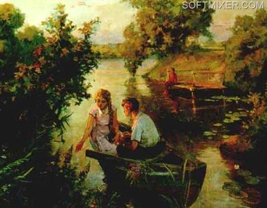 парень в лодке поет
