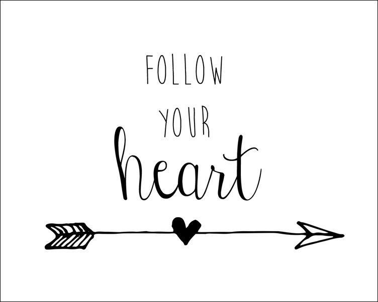 8x10 Follow Your Heart Arrow