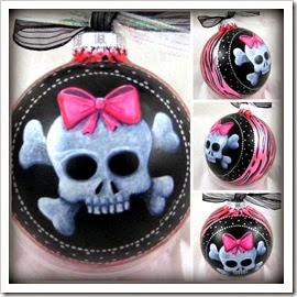 Cany Skullz - Pink Zebra Cutie Pie Ornament