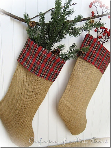 Burlap Christmas Stockings Part - 30: CONFESSIONS OF A PLATE ADDICT Burlap And Plaid Stockings1