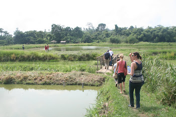 'Exploring a aquaculture at Kumah Farms Complex outside of Kumasi.' Photo by Sandra Vu