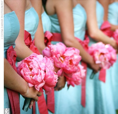 blue pink bridesmaid