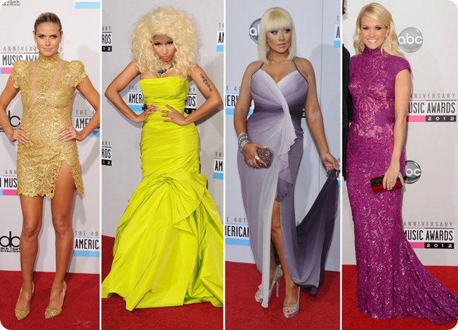 Heidi Klum, Nicki Minaj, Carrie Underwood, Christina Aguilera, AMA 2012, Nokia, premiação, red carpet