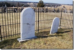 Mrs. Judith Henry's gravestone on the left