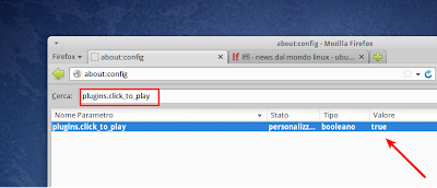 Firefox 23 - attivare Click to Play da about:config