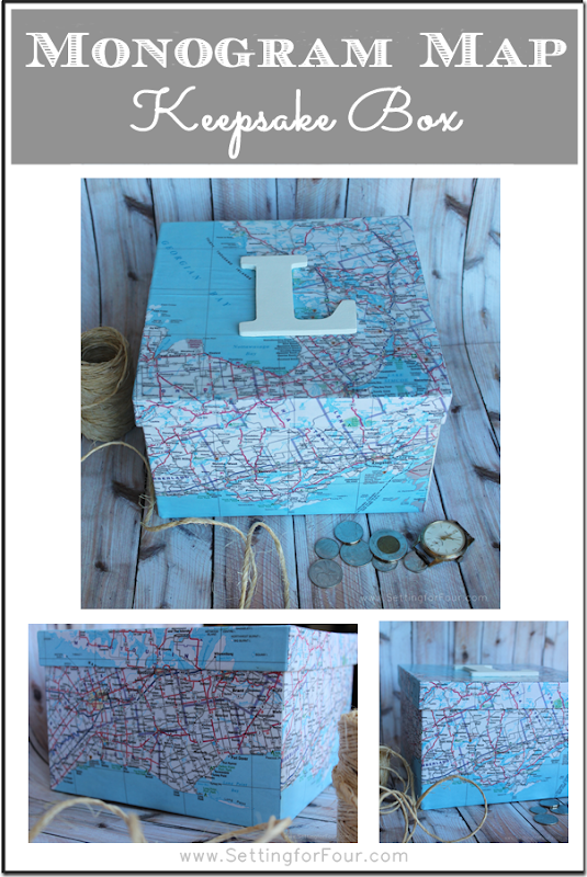 DIY Monogram Map Keepsake Box from Setting for Four