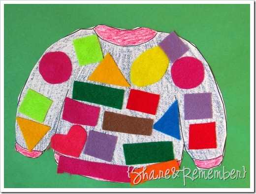 sweater collage art with felt shapes