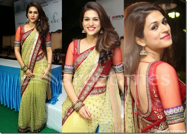 Shradha_Das_Green_Net_Saree